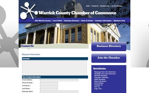 Screenshot of Contact Page warrickchamber.org - Contact Us - Warrick County Chamber of Commerce | Boonville, IN - captured Oct. 7, 2014