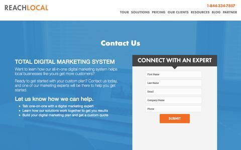 Screenshot of Landing Page reachlocal.com - Contact a Digital Marketing Expert | ReachLocal - captured March 14, 2016