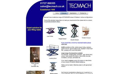 Screenshot of Products Page tecmach.co.uk - Low Profile, Single and Double Scissor Lift Suppliers UK | Tecmach | Hertfordshire | UK - captured Oct. 27, 2014