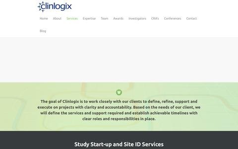 Screenshot of Services Page clinlogix.com - Services - Clinlogix - captured May 18, 2017