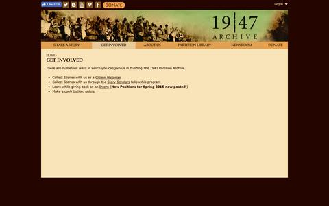 Screenshot of Signup Page 1947partitionarchive.org - Get Involved | www.1947partitionarchive.org - captured Nov. 16, 2018