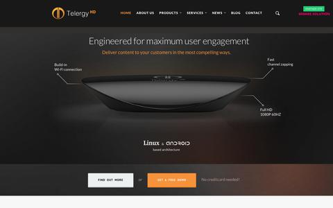 Screenshot of Home Page telergyhd.com - High Quality Android & Linux Set-Top Boxes | TelergyHD - captured Sept. 20, 2018