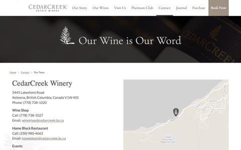 Screenshot of Contact Page Team Page cedarcreek.bc.ca - Our Team | CedarCreek Estate Winery - captured Sept. 27, 2018
