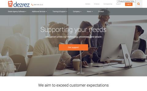 Screenshot of Support Page dezrez.com - Support - Online Sales, Lettings and Property Management Software for Estate Agents, Lettings Agents and Estate Agency providing support for Rezi DezrezOne and DezrezPM - captured Oct. 12, 2017