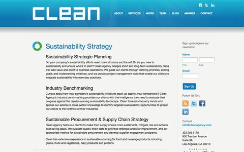 Screenshot of Services Page cleanagency.com - Clean Agency Sustainability Consulting Los Angeles: Services - captured Sept. 29, 2014