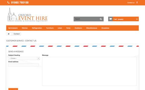 Screenshot of Contact Page oxfordeventhire.co.uk - Contact us - Oxford Event Hire Ltd - captured Aug. 16, 2016