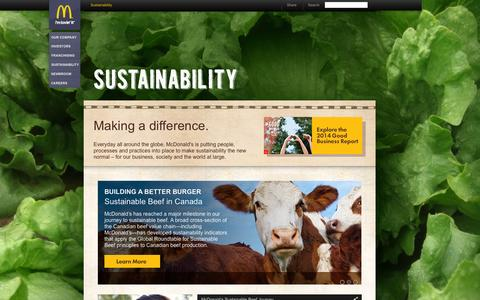 Screenshot of aboutmcdonalds.com - Sustainability :: AboutMcDonalds.com - captured Oct. 3, 2015