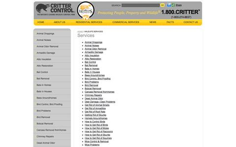 Screenshot of Services Page crittercontrol.com - Critter Control - Services - captured Sept. 24, 2014