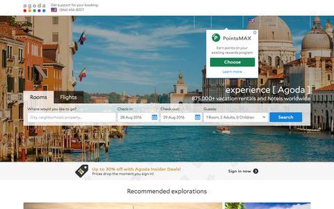 Screenshot of Home Page agoda.com - Agoda.com: Smarter Hotel Booking - captured Aug. 19, 2016