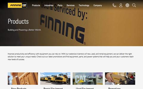 Screenshot of Products Page finning.com - Products | Finning Cat - captured July 3, 2018