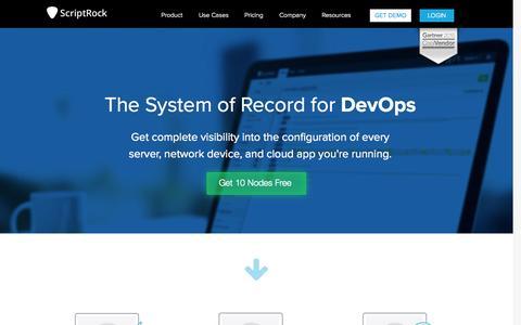 Screenshot of Home Page scriptrock.com - ScriptRock | The System of Record for DevOps - captured Oct. 1, 2015