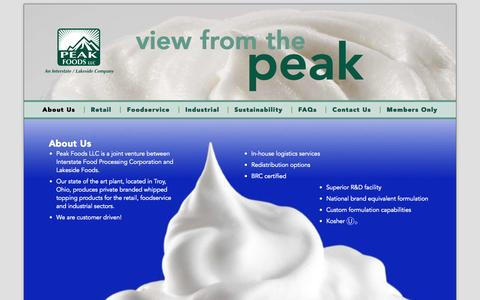 Screenshot of Home Page About Page peakfoods.com - Peak Foods, LLC - captured Oct. 2, 2014