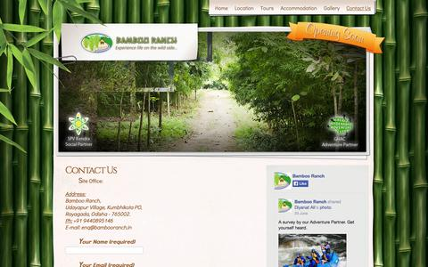 Screenshot of Contact Page bambooranch.in - Contact Us   Bamboo Ranch - captured Sept. 30, 2014