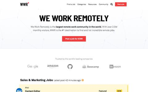 Screenshot of Home Page weworkremotely.com - We Work Remotely: Remote jobs in design, programming, marketing and more - captured July 19, 2019