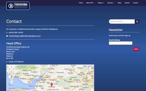 Screenshot of Contact Page torishimaprojects.co.uk - Contact - Torishima (Europe) Projects Ltd - captured Oct. 7, 2014