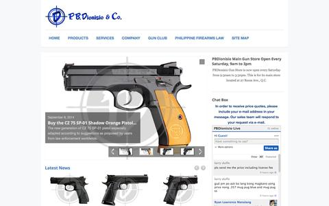 Screenshot of Home Page pbdionisio.com - Gun Store in the Metro Manila Philippines, Gun Shop in Metro Manila Philippines, Firing Range in Metro Manila Philippines, Gunsmith in Metro Manila Philippines, Licensed Firearms Dealer in the Philippines, Member of Association of Firearms and Ammuni - captured Oct. 1, 2014