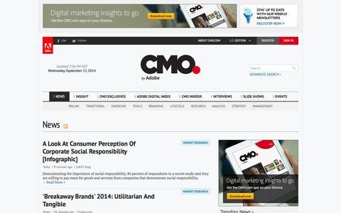 Screenshot of Press Page cmo.com - News - captured Sept. 18, 2014