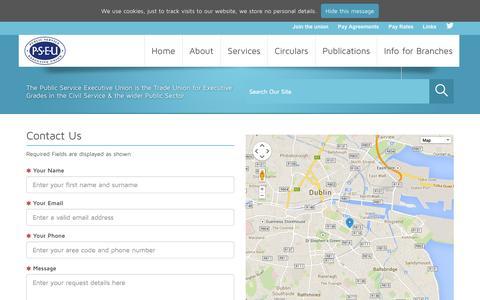 Screenshot of Contact Page pseu.ie - Contact the PSEU - captured Sept. 26, 2014