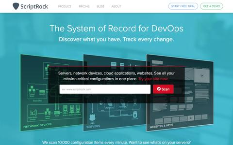 Screenshot of Home Page scriptrock.com - ScriptRock - Total System Visibility for DevOps - captured June 17, 2015