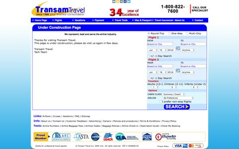 Screenshot of FAQ Page Site Map Page transamtravel.com - TransamTravel - Best Consolidator,cheap fares, discounted fares from USA to Worldwide - captured Jan. 12, 2016
