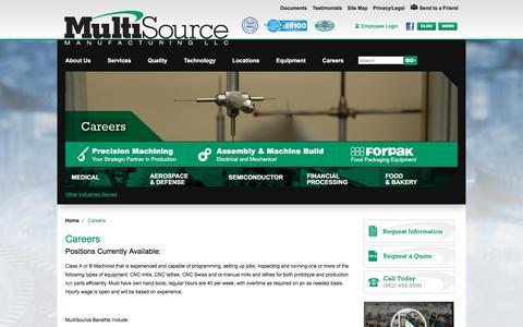 Screenshot of Jobs Page multisourcemfg.com - MultiSource | Careers - captured Feb. 15, 2016