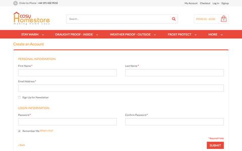 Screenshot of Signup Page cosyhomestore.co.uk - Create New Customer Account Make home cosy - captured Dec. 12, 2015