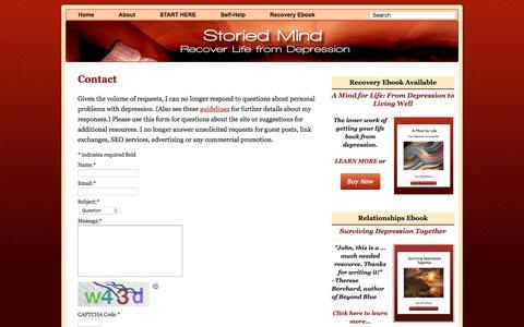 Screenshot of Contact Page storiedmind.com - Contact • Storied Mind - captured Oct. 30, 2017