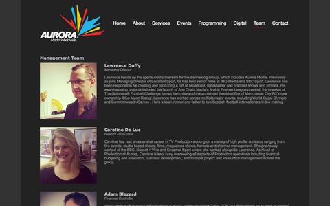 Screenshot of Team Page auroramedia.com - Aurora Media | Boutique Broadcast Media Agency - captured Oct. 4, 2014
