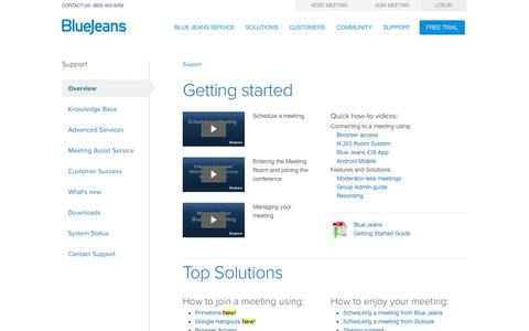 Screenshot of Support Page bluejeans.com - Support Overview   Blue Jeans - captured Dec. 17, 2014