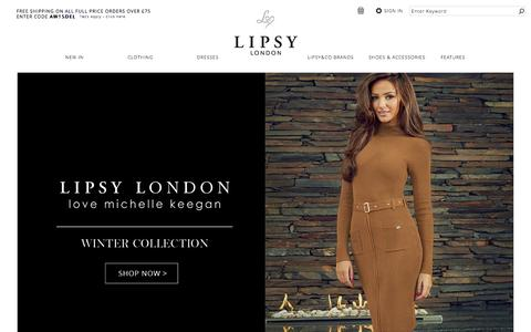 Screenshot of Home Page lipsy.co.uk - Lipsy � Women�s Clothing & Fashion Online - captured Nov. 1, 2015
