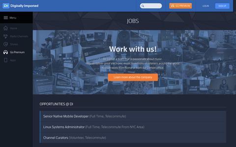 Screenshot of Jobs Page di.fm - Careers - DI Radio - captured Oct. 2, 2015