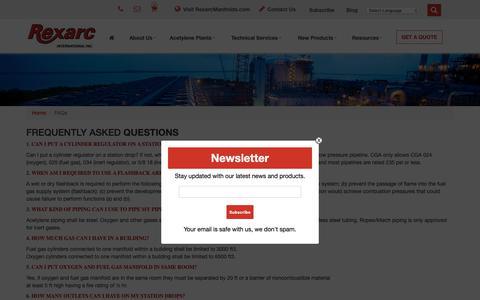 Screenshot of FAQ Page rexarc.com - FAQs - Rexarc International Inc. - captured Oct. 18, 2018