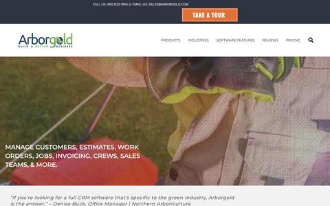 Screenshot of Home Page arborgold.com - Landscaping service business scheduling software | Arborgold - captured June 9, 2019