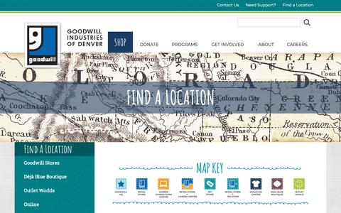 Screenshot of Locations Page goodwilldenver.org - Find a Goodwill Thrift Store Location in Denver, CO - captured Nov. 8, 2018