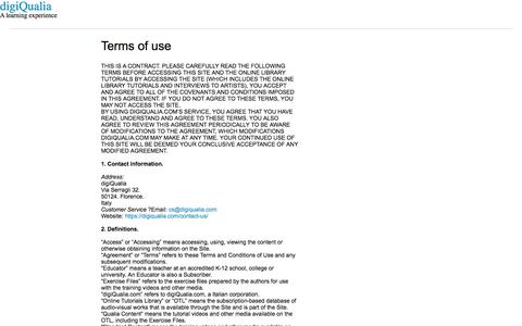 Screenshot of Terms Page digiqualia.com - Terms of use - digiQualia - captured Oct. 13, 2017