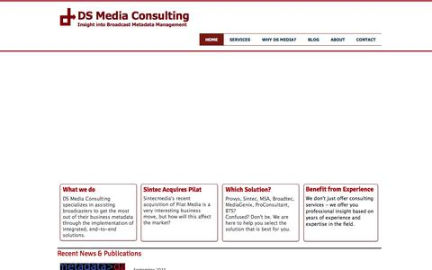 Screenshot of Home Page dsmediaconsult.com - DS Media Consulting - Broadcast Management Systems Consulting - captured Feb. 8, 2016