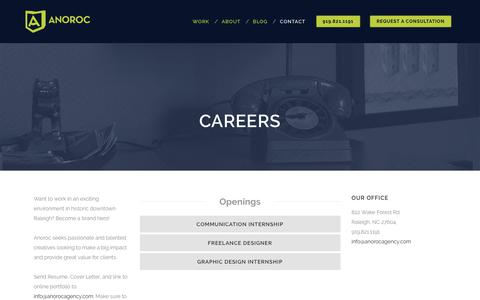 Screenshot of Jobs Page anorocagency.com - Careers - Anoroc Agency - captured Oct. 21, 2018