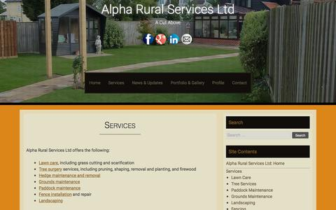 Screenshot of Services Page alpharuralservices.co.uk - Services - Alpha Rural Services Ltd - captured July 29, 2018