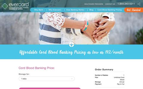 Screenshot of Pricing Page natera.com - How Much Does Cord Blood Banking Cost? -Evercord.com - captured April 9, 2018