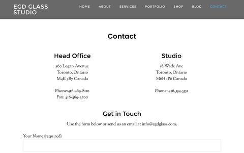 Screenshot of Contact Page egdglass.com - Contact EGD Stained Glass Studio in Toronto - captured Oct. 10, 2016