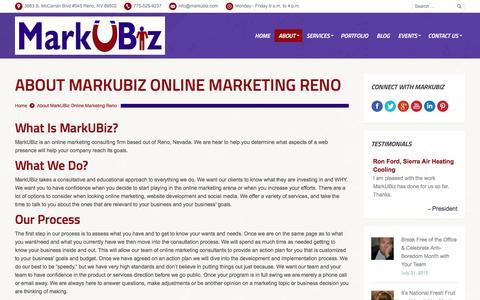 Screenshot of About Page markubiz.com - MarkUBiz.com | Online Marketing Reno | Internet Marketing Reno | Website Development - captured Sept. 1, 2017