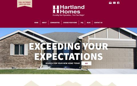 Screenshot of Home Page hartlandhomes.com - Home | Hartland Homes | Home Builder in Lincoln Nebraska - captured June 18, 2015
