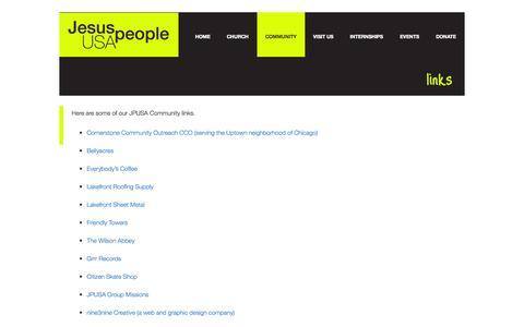 Screenshot of Contact Page jpusa.org - LINKS - Jesus People USA - captured Sept. 29, 2014