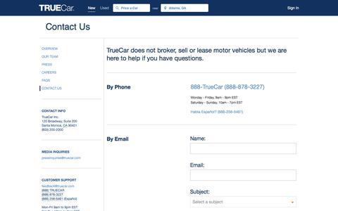 Screenshot of Contact Page truecar.com - Contact Us | TrueCar - captured Nov. 5, 2017