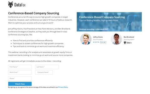 Screenshot of Landing Page datafox.com - Conference-Based Company Sourcing - captured Sept. 21, 2018