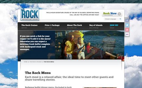 Screenshot of Menu Page rocktheboat.co.nz - The Rock Menu | The Rock Cruises - The Rock - captured Oct. 5, 2014