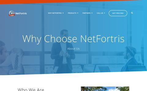 Screenshot of About Page netfortris.com - NetFortris About - captured Aug. 17, 2019