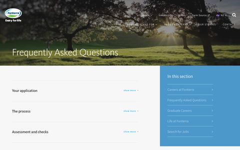 Screenshot of FAQ Page fonterra.com - Frequently Asked Questions - captured July 1, 2018