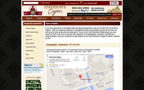 Screenshot of Locations Page emersonscigars.com - Store Locations - captured Dec. 9, 2015