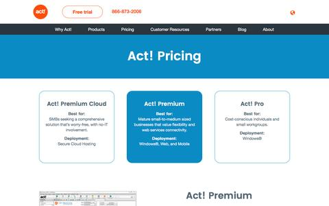 Screenshot of Pricing Page act.com - Buy Act! Premium, Act! Premium Cloud and Act! Pro Sales & CRM Software - captured Sept. 6, 2016